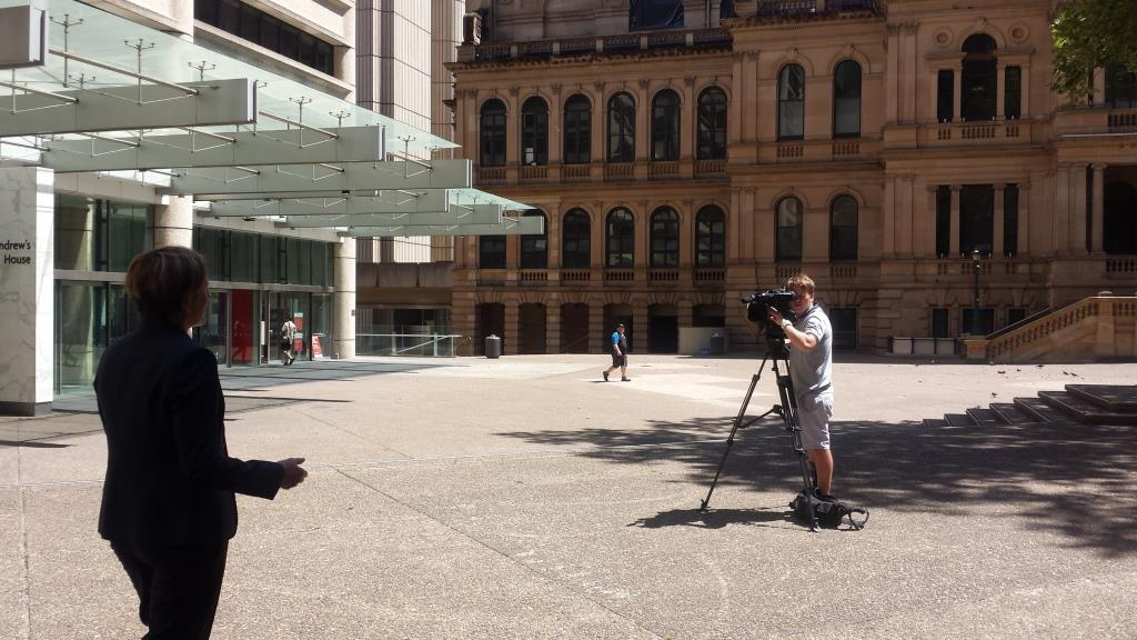 Filming an interview on cycling registration for Channel 10's The Project