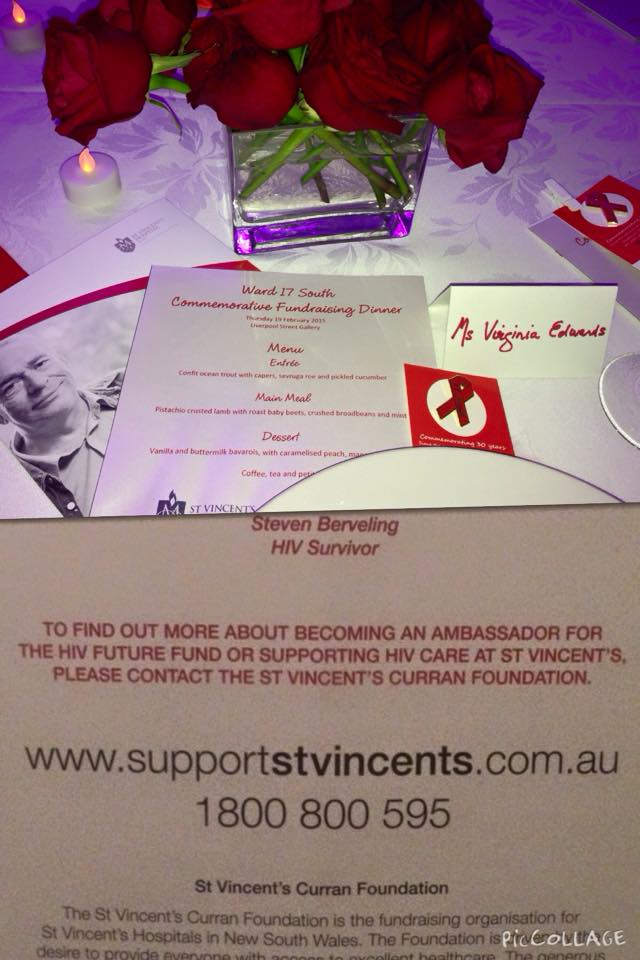 At the St Vincent's Commemorative Fundraising Dinner - 30 years since the opening of Ward 17 South